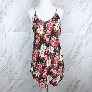 Vintage Floral Polka Dot Slip Dress